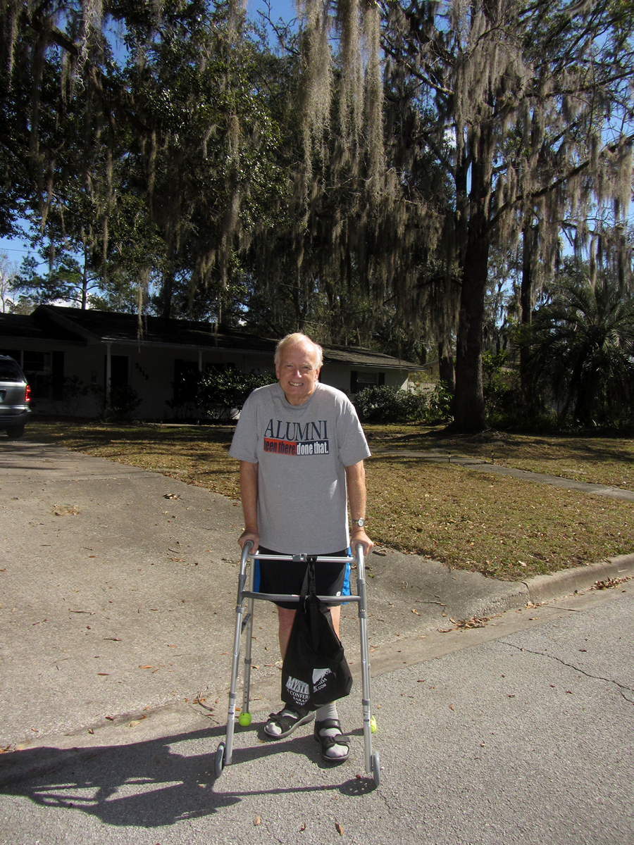hubs with his walker