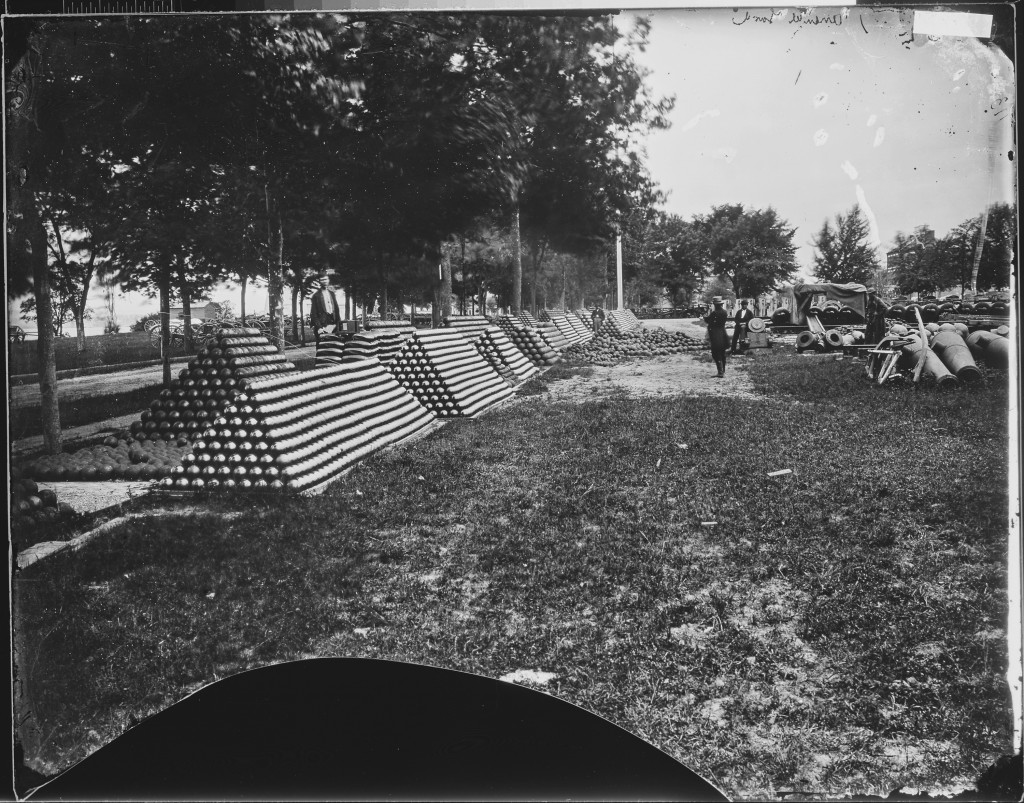 rows of stacked cannonballs circa Civil War (public domain)