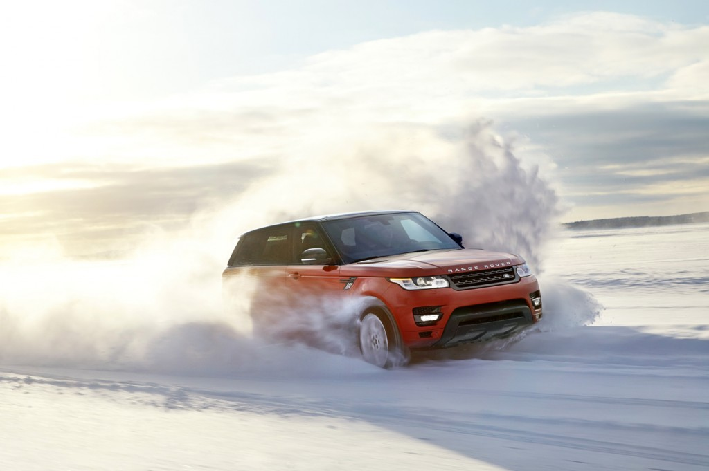 Range Rover racing through snow