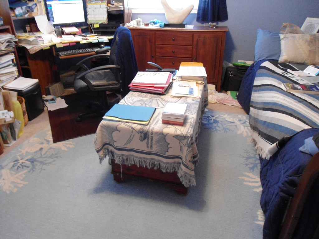 My study--not totally neat, but I know what is in each pile, and you can see the floor!