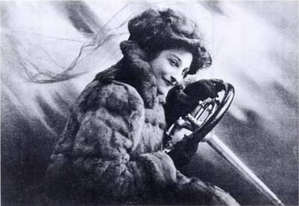 Hey Lady, you better get out behind that wheel if you're over 4 months pregnant! (image from Dorothy Levitt's front piece to The Woman and The Car)