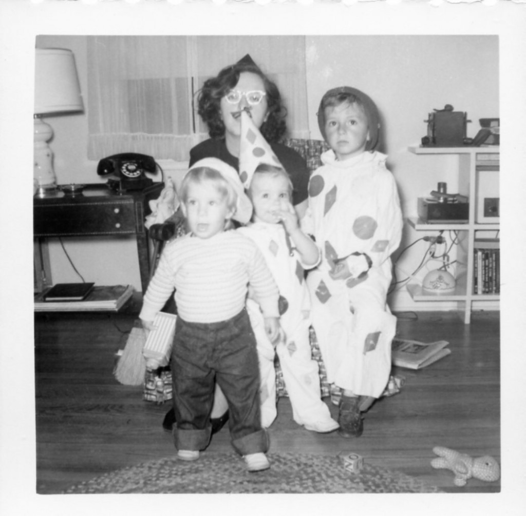 I'm the one in the middle with the dorky clown hat. And no, my mother didn't let us go out alone when we were this small; that was later when we were in elementary school.