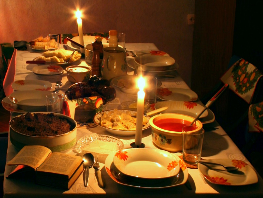 Writers need to eat, too! (photo of Polish Christmas Eve dinner by Przykuta CC-BY-SA 3.0, Wikimedia Common)