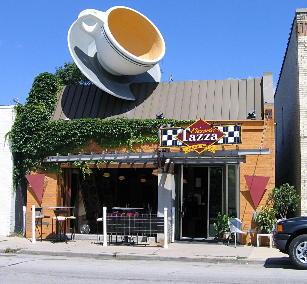 cafe with coffee cup on the roof
