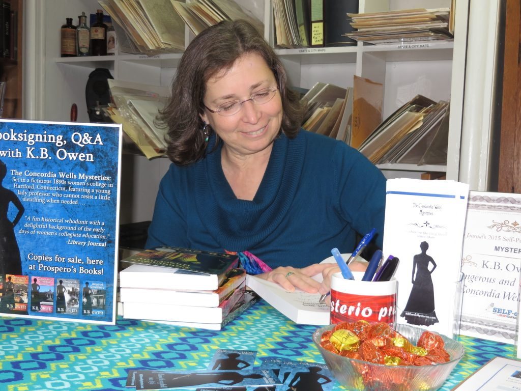 K.B. Owen signing books at Prospero's Books (Manassas, VA)