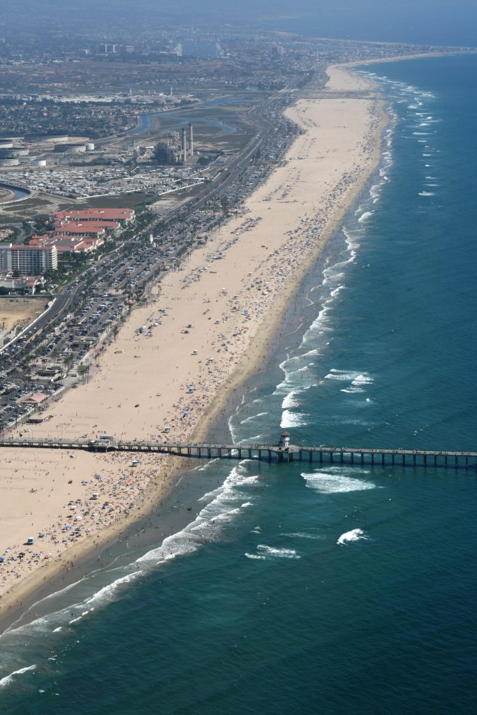 aerial of crowded beach on Labor Day