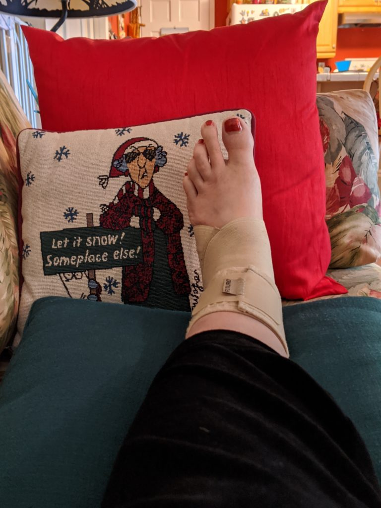 I'm thankful I'm a clumsy gardener, despite this lovely sprained ankle.