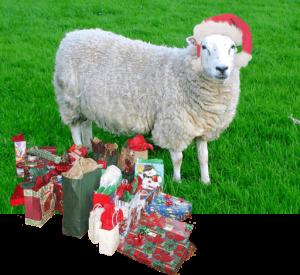 Santa sheep with gifts