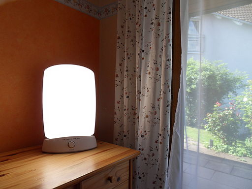 Light therapy lamp (public domain, Wikimedia Commons)