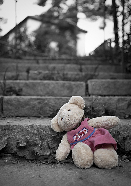 Teddy Bear on lonely gray steps