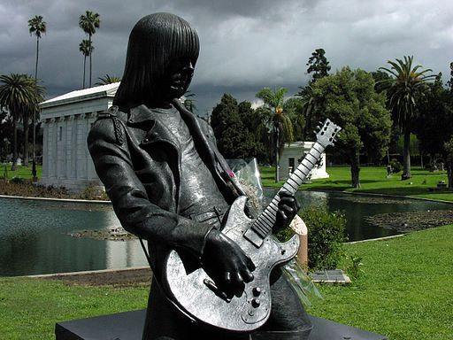 Johnny Ramone statue in Hollywood Forever Cemetery