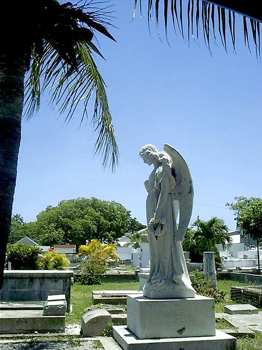 statue of angel in Key West Cemetery