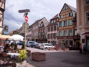 street scene in Colmar, France