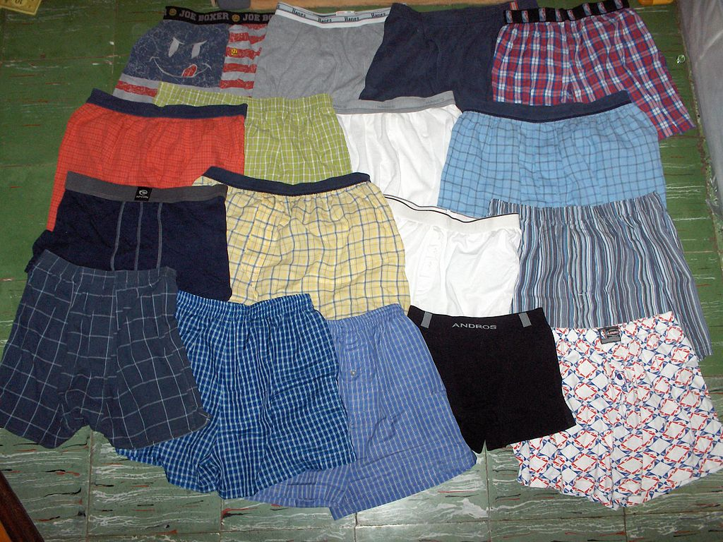 boxer shorts laid out on floor