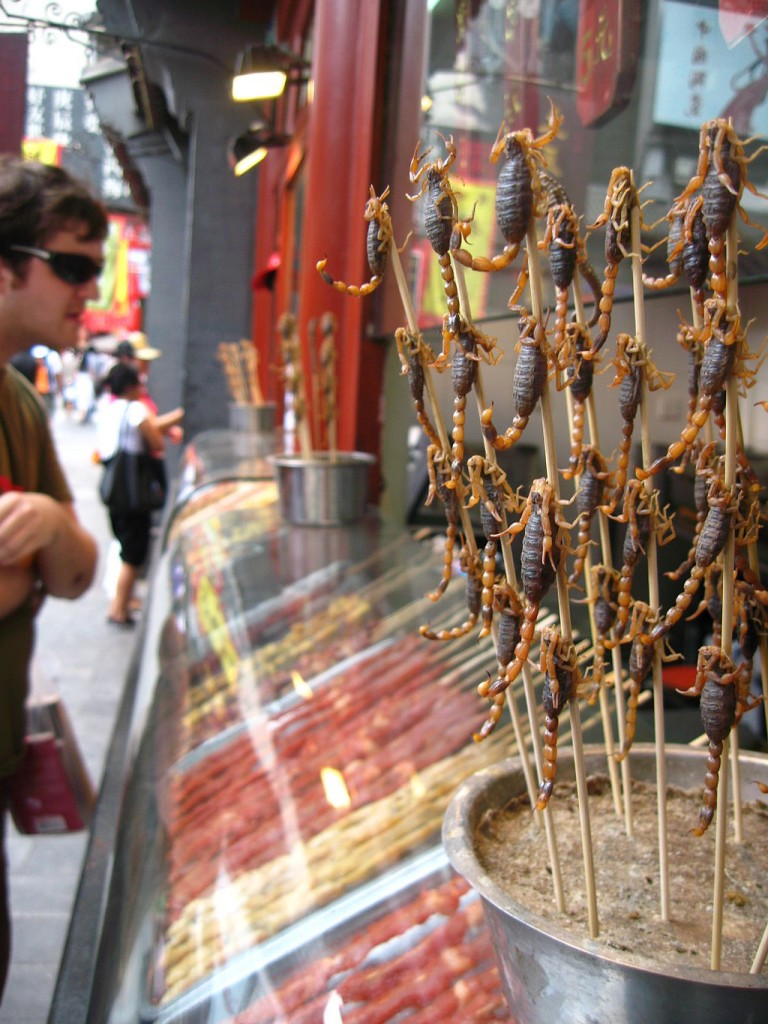 Scorpions on sticks to be deep-fried and enjoyedm (ick)
