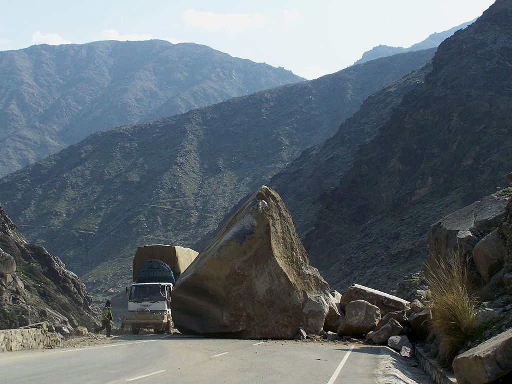 large boulder in road