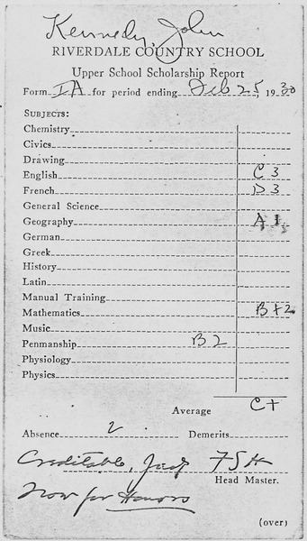 image of JFK's report card -- average C+