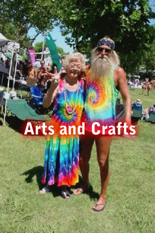very old couple in tie-dye hippie clothes