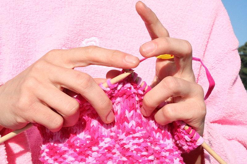 woman's hands, knitting