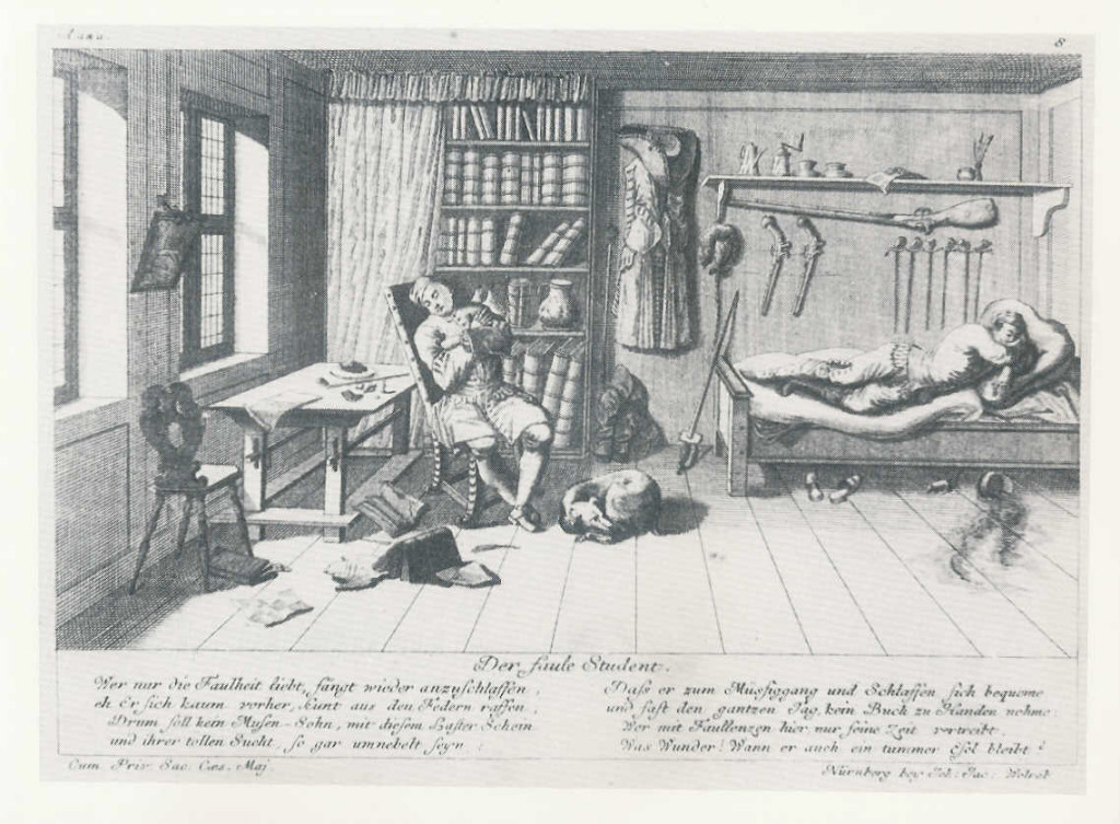 "1725 engraving of ""The Lazy Student"""