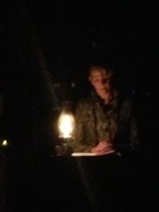 Me reading by lamplight